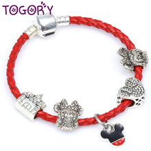 0eab28fc6 TOGORY Dropshipping Mickey Charm Bracelet Pulseira with Murano Glass Beads  Leather Chain Pandora Bracelet for Women Jewelry