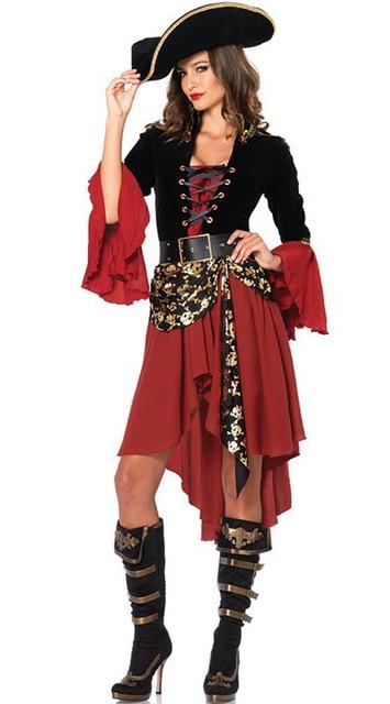 182a561ecccc04 Vintage Piraat Kostuum Vrouwen Halloween Carnaval Cosplay Jurk Oude Captain  Sailors Kleding Caribbean Pirate Outfit