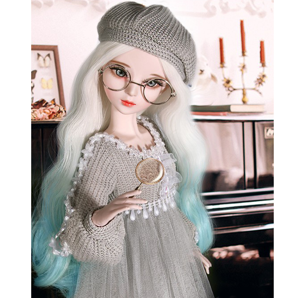 Fashion Gray Sweater Gauzy Dress Skirt&Hat w/ Beret Lace Stockings Doll Leggings Set for <font><b>1/3</b></font> <font><b>BJD</b></font> 60cm Dolls <font><b>Clothing</b></font> Accessories image
