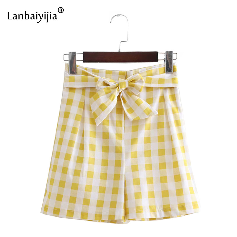 Lanbaiyijia Fashion Linen Yellow Plaid Flare Shorts Women Tied Bow Sashes High Elastic Waist Casual Women Mini Shorts S M L