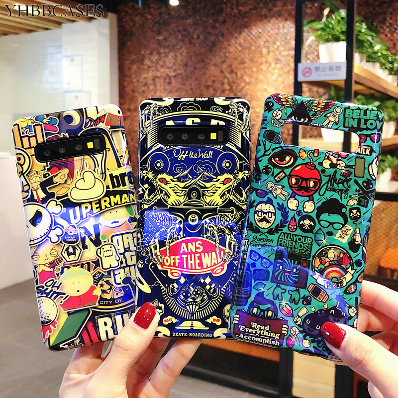 Blu-Ray Cartoon Letter Cases For Samsung Galaxy S10 S8 S9 Plus Cool Graffiti Phone Cover For Samsung Note10 Plus 8 9