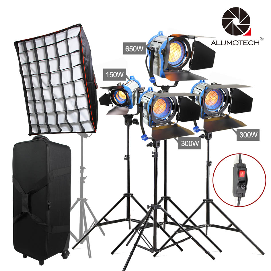 ALUMOTECH As ARRI 150W 300Wx2 650W Fresnel Tungsten Spot Light Stands 4 Softbox Case With Wheels