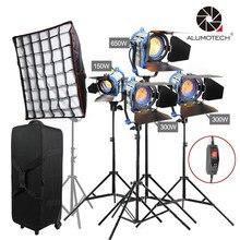 Alumotech про фильм как ARRI 150 Вт + 300Wx2 + 650 Вт Френеля Вольфрам пятно света + стоит * 4 + софтбокс + Case