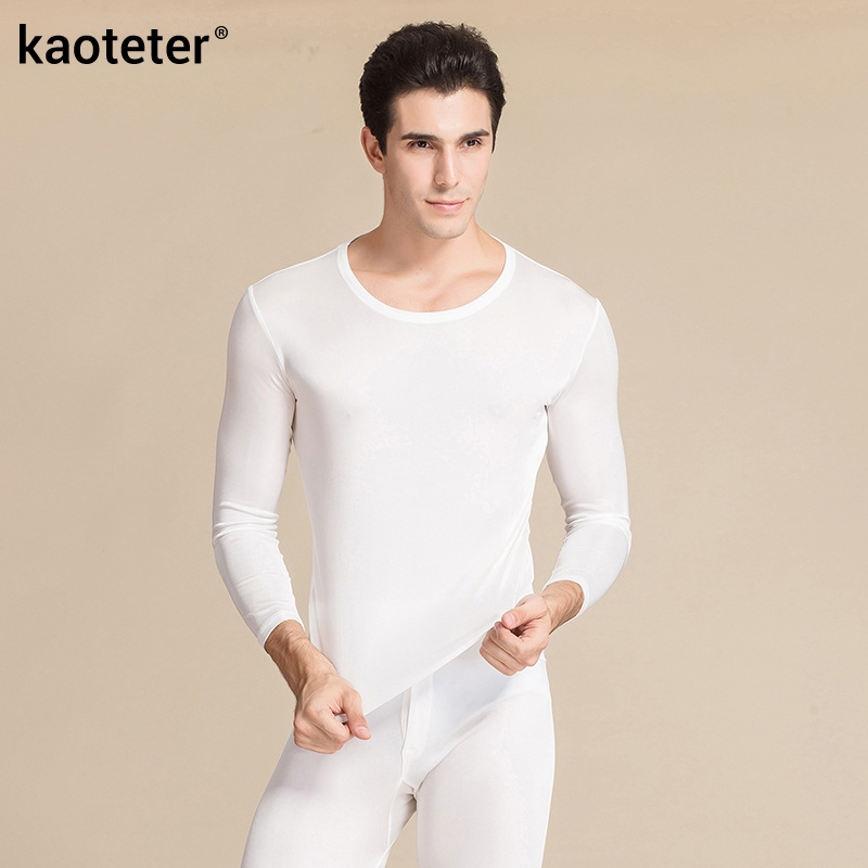 100% Pure Silk High Quality Men Long Johns Elastic O Neck Underwear Set Antibacterial Breathable Comfortable Autumn Winter Suits