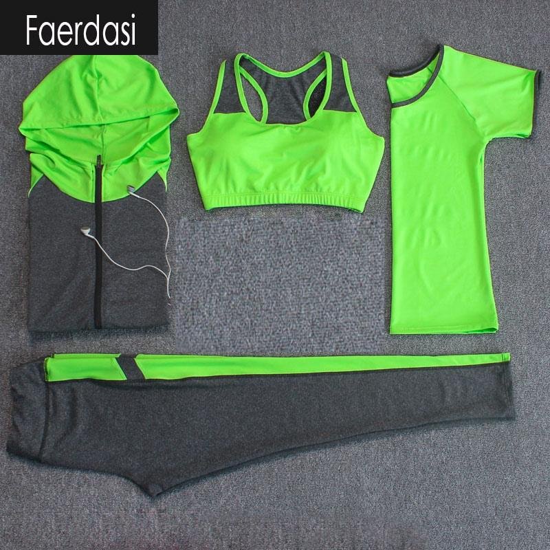 ФОТО faerdasi Breathable Sport suit Women Fitness suit Yoga bra Long sleeeve Hoodies Running Yoga t shirt Sports Leggings Sportswear