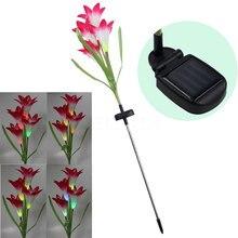 Solar LED Lily Flower Light Color Changing Garden Stake Light Energy Saving  Lamp Decoration Flower Light