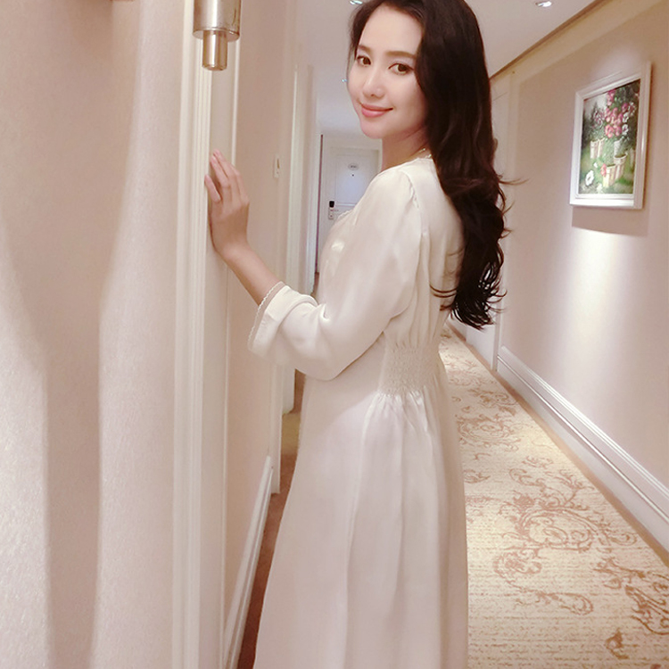 Spring Summer Women Sexy Silk Satin Nightgowns Long Night -3338