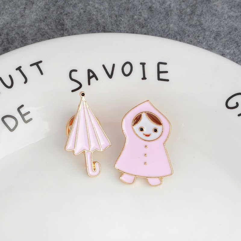 Roze regenjas meisje en paraplu Emaille Broche Denim kleding tas Pin Knop Badge Mooie Cartoon Sieraden Cadeau voor Kinderen Meisjes
