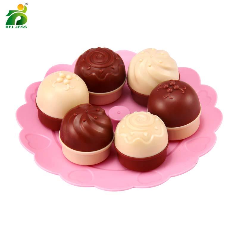 Bei Jess 23pcs Girl Pink Cake Tower Mini Cookie Food Set Plastic Kitchen Toys Kids Pretend Play Birthday Gift #3