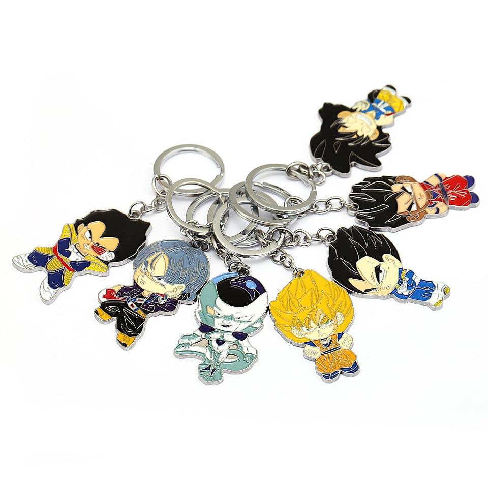 Dragon Ball Cabochon Keychain Vegeta Super Saiyan Goku Gohan Keyring Key Chain