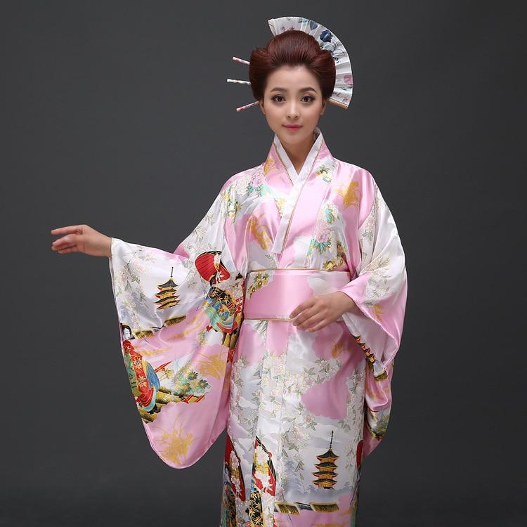 Perempuan Jepun Tradisional Pakaian Wanita Yukata Kostum Satin Kimono - Pakaian kebangsaan - Foto 3