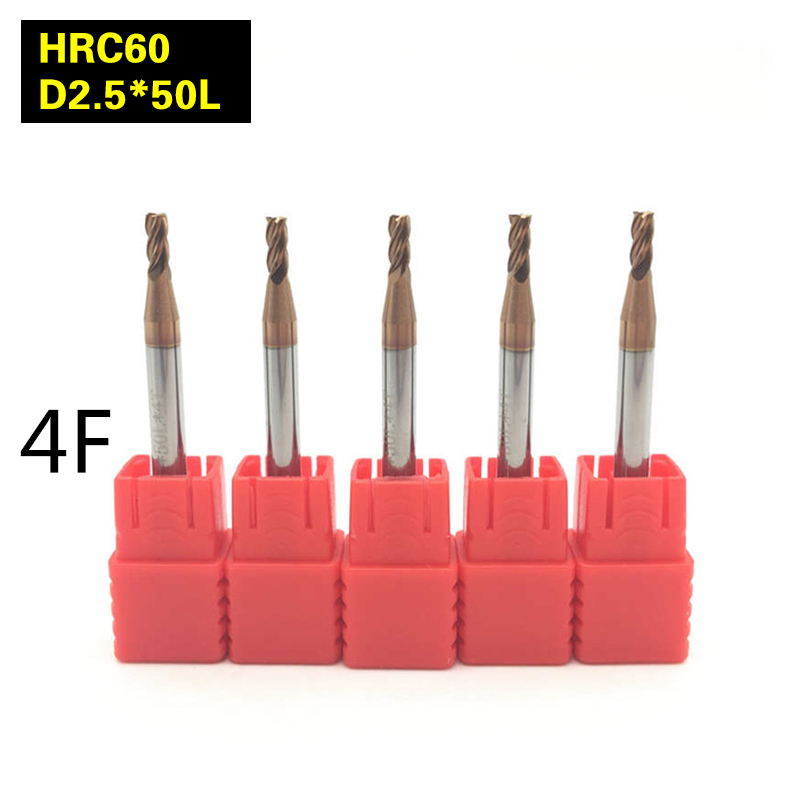 5PCS 4F-D2.5*50L HRC60 material Carbide Square Flatted End Mill 4 flute mill diameter 2.5mm High-speed machine Milling Cutter 5pcs 4f d6 150l hrc60 material carbide square flatted end mill 4 flute mill diameter 6mm high speed machine milling cutter