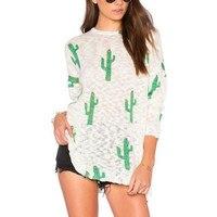 Cactus Tshirt Women Harajuku Style Long Sleeve Loose Shirt Kawaii Girls Fashion Shirt Basic Tee Women