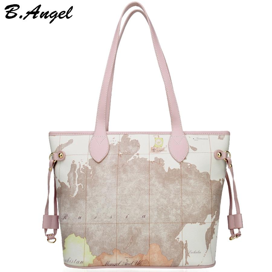 High Quality World Map Women Bag Fashion  Big Tote Bag Special Handbag Brand Designer Shoulder Bag HC-W-1066