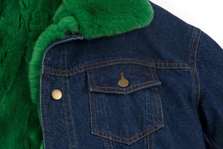 Новая модная уличная одежда Женская Толстая джинсовая куртка съемная подкладка из натурального кроличьего меха и меховой воротник большие зимние парки