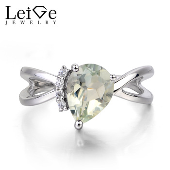 Leige Jewelry Natural Green Amethyst Ring Promise Ring Pear Cut Green Gemstone Solid 925 Sterling Silver Ring Anniversary Gifts