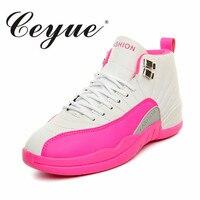 Ceyue mujeres Zapatillas de baloncesto Venta caliente mujeres deporte al aire libre Zapatos antideslizante entrenamiento mid-high Top Atlético aire 12 sneakers