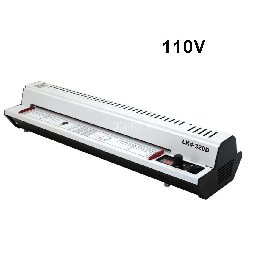 110V 300W Photo Document Paper A3 A4 Laminating Film Machine Cold/Hot Laminator Knob Operating Temperature 400mm/min LK4-320D110V 300W Photo Document Paper A3 A4 Laminating Film Machine Cold/Hot Laminator Knob Operating Temperature 400mm/min LK4-320D