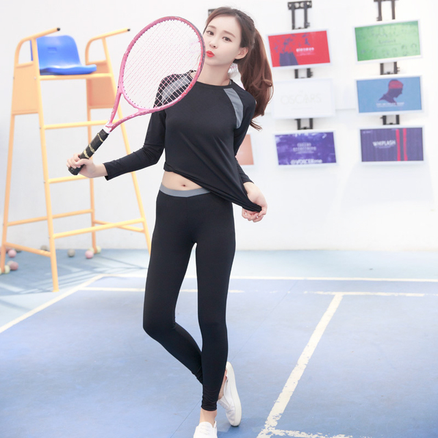 2017 Hot Yoga Long Sleeveless+Sport Bra+Running Shorts+Fitness Legging 4 Piece Sportswear Breathable Gym Clothing Women Yoga Set