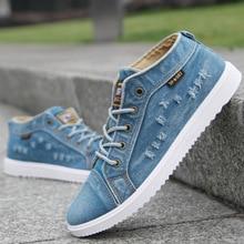 Fashion Denim Man Canvas Shoes Men Shoes Casual High Top Sneakers 2019 Summer Breathable Plimsolls Male Footwear Men's Flats