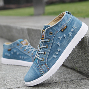 Image 4 - Fashion Denim Man Canvas Shoes Men Shoes Casual High Top Sneakers 2019 Summer Breathable Plimsolls Male Footwear Mens Flats