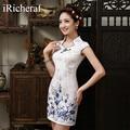 White Chinese Traditional Dress New Arrival Women Mandarin Collar Slim Low Vents Cotton Cheongsam Short Qipao Top Plus Size Hot