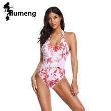 RUMENG One Piece Swimsuit Women Swimwear Monokini Girls Sexy for Summer Beach Swim Red Floral print