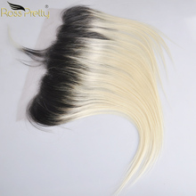 Ross Pretty Remy Peruvian Straight hair Lace Frontal Ombre Color 1b blonde Ear to Ear 13x4 Front 100% Human Hair 1b/613 4 baisi 100% 1b