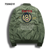 Tsingyi Spring Jacket Men Badge and Embroidery Military Pilot Bomber Stand Collar Chaqueta Hombre Mens Coats Jackets
