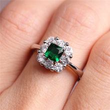 New Creative Lady Zircon Ring Emerald Vintage Diamond Rings Jewelry Size 6-10(China)