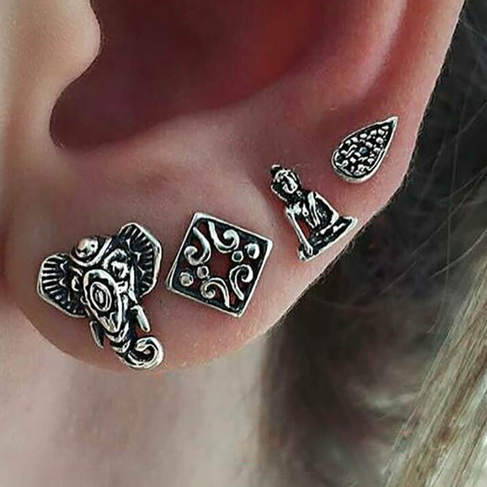 4Pcs/Set Bohemian Earring Retro Silver Color Elephant Buddha Water Drop Geometric Pattern Stud Earring For Women Men