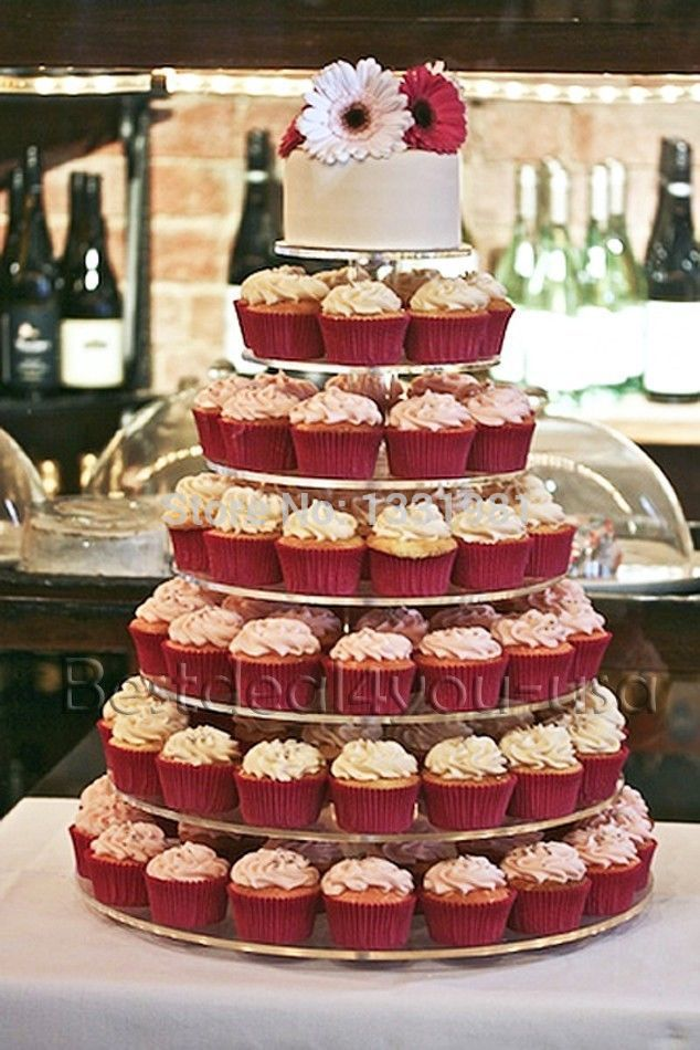 7 Tier Crystal Clear Acrylic Round Wedding CupCake Stand Tower
