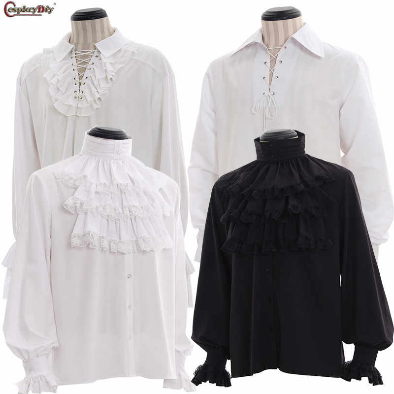 9c8a65cc Custom Made Renaissance Gothic Colonial Vampire Gentle Mens Shirt Medieval  Mens Off-White Black Caribbean
