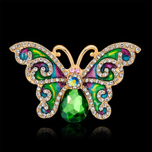 CINDY XIANG Rhinestone Green Color Butterfly Brooches for Women Summer Style Enamel Pins Fashion Jewelry Party Accessories Gift