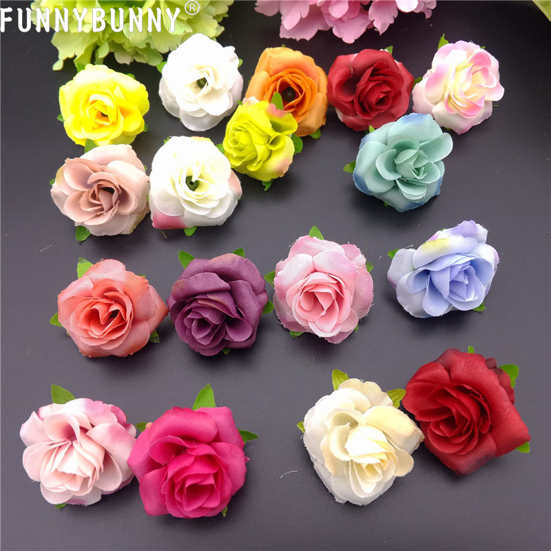 FUNNYBUNNY 10PCS Artificial Flowers Heads for Wedding Flowers Accessories Make Bridal Hair Clips Headbands Dress in Artificial Dried Flowers from Home Garden