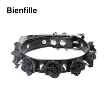 Handgemachte Pastell Goth Versetzt Choker Kühlen Fetisch Floral Spikes Kragen BDSM Getriebe Harajuku Kawaii Rose Blume Slave Halsband Halskette