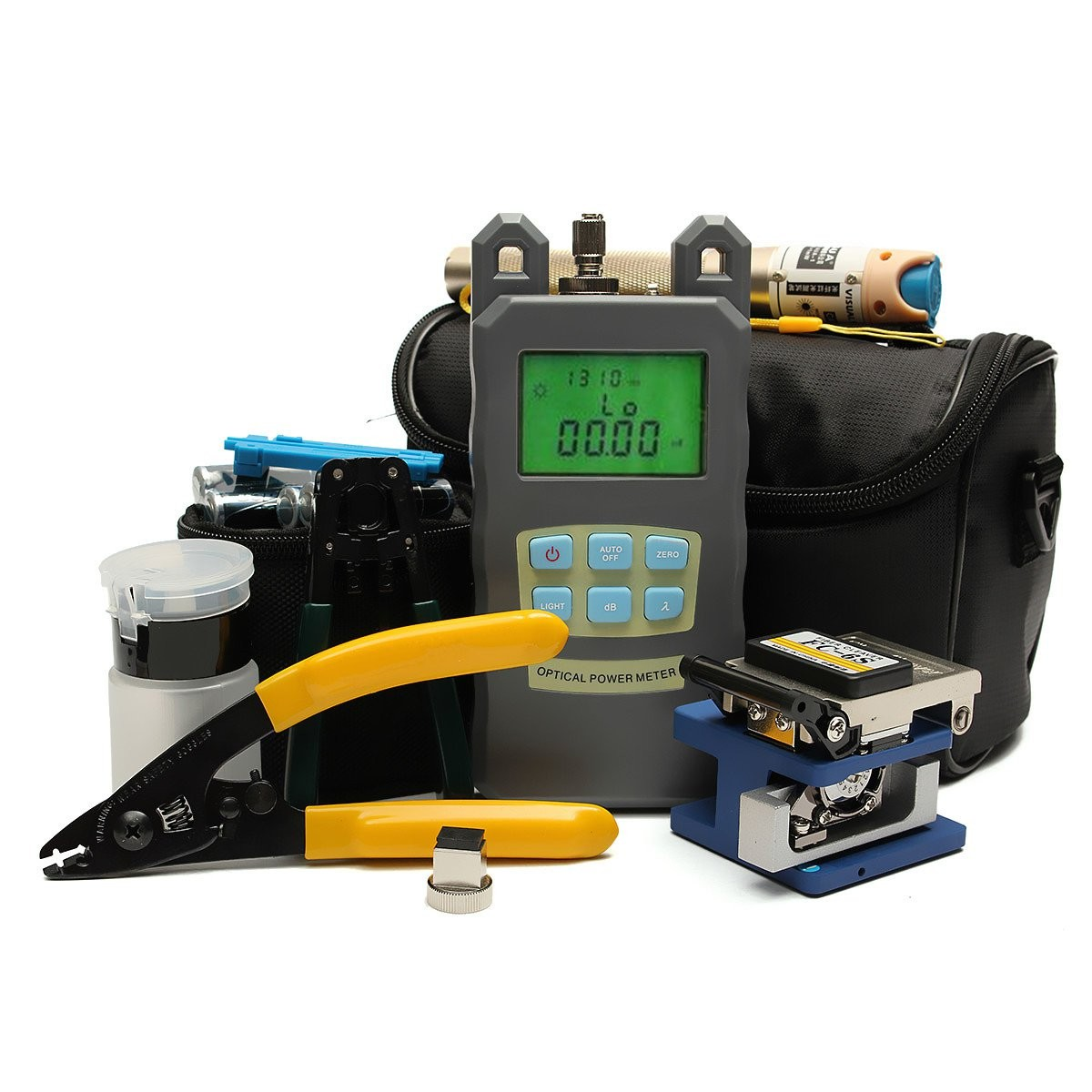 High Quality Fiber Optic FTTH Tool Kit with FC-6S Fiber Cleaver and High Precision Optical Power Meter Fiber Optic Stripper ray tricker optoelectronics and fiber optic technology