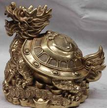 Chine Cuivre Laiton Richesse Argent Bénédiction Dragon tortue Tortue Cocu Statue(China)