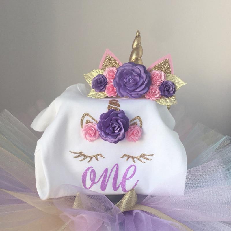 Unicorn Dress Girls Summer Newborn Baby Clothes For Girl Dresses+Unicorn Headband Wild Girls First Birthday Gift Toddler Frocks