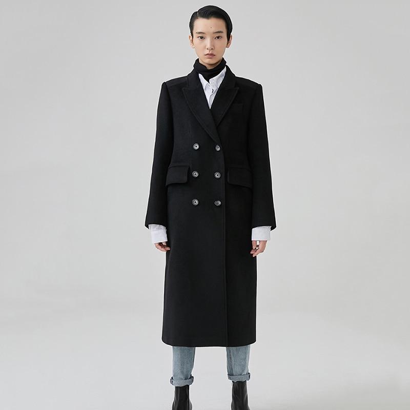 Manches Boutonnage Revers Longues Black Laine Nouveau Mode Marée Ji864 Femmes 2019 Printemps Long À eam Bref Double Manteau Lâche De Noir g7BqwIq