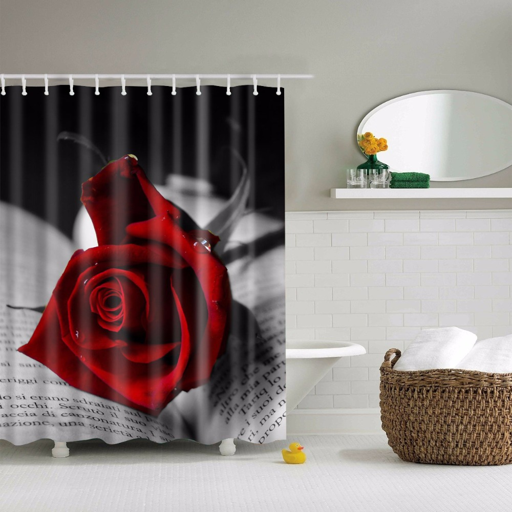 Red shower curtain - Svetanya Red Rose Print Shower Curtains Bath Products Bathroom Decor With Hooks Waterproof 71x71
