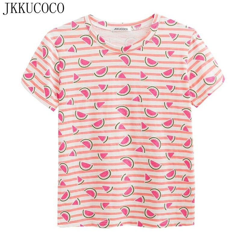 JKKUCOCO Newest Women Cotton T shirt pink Striped t shirts Women shirt Watermelon Print Casual t
