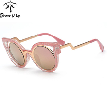 2016 Top Fashion Triangle Vintage Round Sunglasses Women Brand Designer Cat Eye Sun Glasses Women Oculos De Sol Feminino Gafas