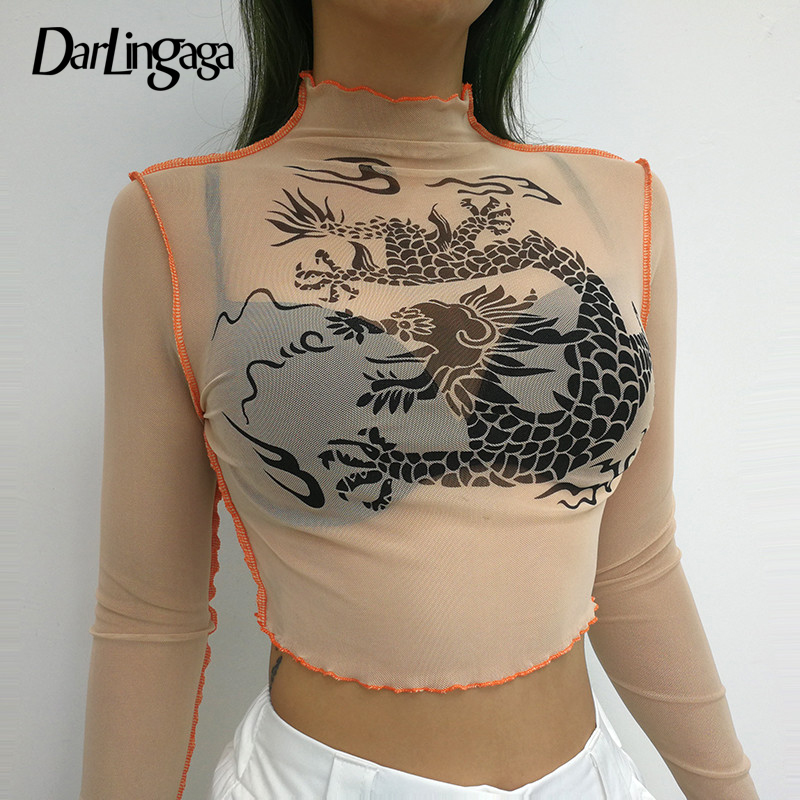 Darlingaga Fashion high neck mesh t shirt women crop tops tees Chinese dragon print female t-shirt transparent long sleeve shirt dragon mesh top