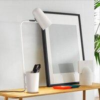 Nordic Modern white/black iron table lamp adjust shade E27 led EU/US on/off plug metal study student desk lamps night light