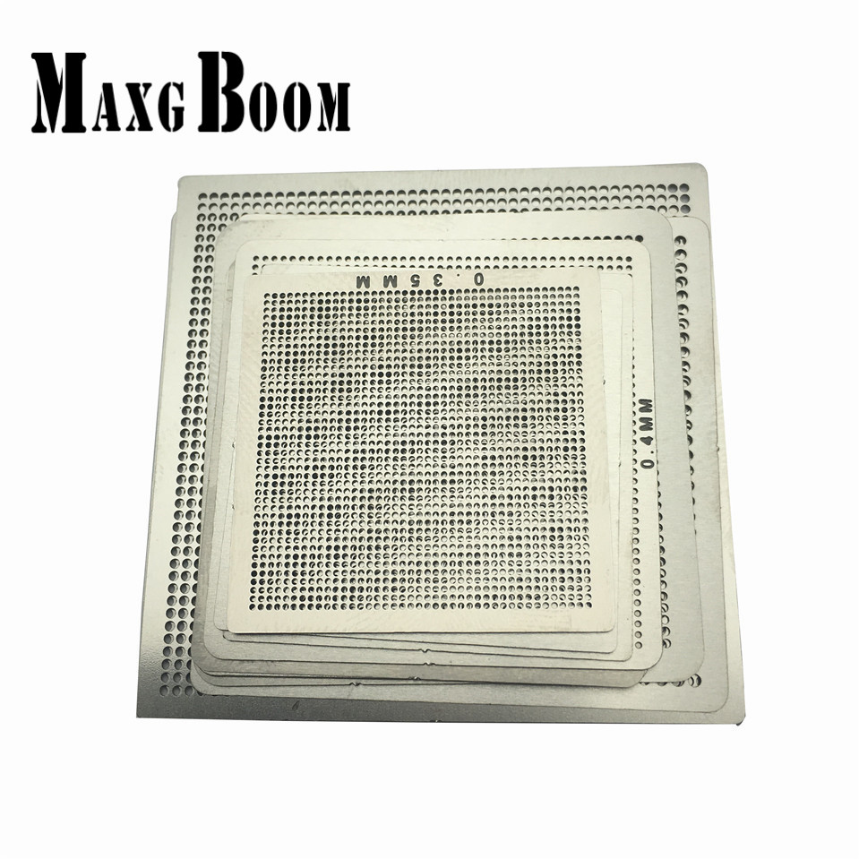 maxgboon 27pcs bga directly heat rework reballing universal stencil template bga reballing kit station MaxgBoon 10pcs Universal Stencil Template IC Sik Tin Directly Heat BGA Rework Reballing