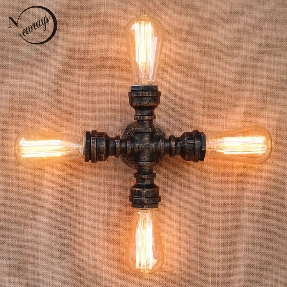 Vintage Loft Industrial art 4 lights iron rust Water pipe wall lamp e27 sconce lights for living room bedroom restaurant bar sachs sd80310 clutch disc