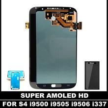 100% Super AMOLED LCD Pour Samsung Galaxy S4 i9500 i9505 i9506 i337 Mobile LCD Affichage à L'écran Tactile Digitizer Assemblée Autocollant