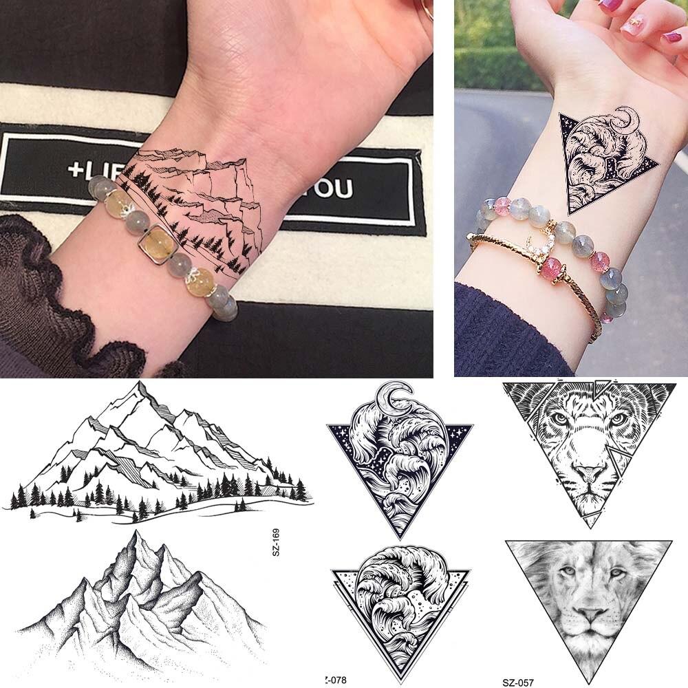 53426ce4e Rejaski Cute Hands Mountain Tattoo Stickers Men Wrist Geometric Wave Tiger Temporary  Tattoo Women Body Ankle