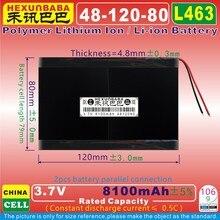 [L463] 3,7 V 8100mAh [4812080] PLIB(полимерный литий-ионный аккумулятор) для планшетных ПК; внешний аккумулятор; электронная книга; сотовый телефон